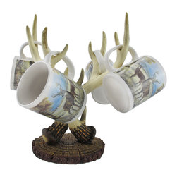 Zeckos - Deer Antler Coffee Mug Rack with 4 Scenic Mugs - Add some rustic charm to your kitchen with this antler coffee mug rack Made of cold cast resin, it measures 12 inches tall, 8 1/2 inches wide, and 5 1/4 inches deep. Four ceramic mugs are included that show a picturesque scene with deer in a meadow. Each of these pieces are hand painted, and it makes a wonderful gift for wildlife enthusiasts.