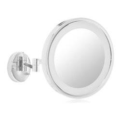 Jerdon HL1016CL 9.5-Inch LED Halo Lighted Wall Mount Mirror w/ 5x Magnification - The Jerdon HL1016CL 9.5-Inch LED Halo Lighted Wall Mount Mirror is used in luxury hotels and day spas because of its convenience, sleek look, lighting and magnification. LED bulbs are lined around the mirror to distribute light evenly. LED bulbs use less energy (2.5-watts), are good for the environment, remain cool to the touch and can last up to 60,000-hours. This single-sided circular mirror has a 9.5-inch diameter that provides 5x magnification to make sure every detail of your hair and makeup are in place. The light design around the perimeter of the mirror and extension arm adjusts to all angles for a dynamic point of view. An on/off rotary knob on the circular base will activate the lighting when you need it. The HL1016CL extends 16-inches from the wall and can be easily moved around, while still being firm enough to hold for odd angles. This mirror has an attractive chrome finish that protects against moisture and condensation and is designed to be wall mounted. This item comes complete with mounting hardware. The Jerdon HL1016CL 9.5-Inch LED Halo Lighted Wall Mount Mirror comes with a 1-year limited warranty that protects against any defects due to faulty material or workmanship. The Jerdon Style company has earned a reputation for excellence in the beauty industry with its broad range of quality cosmetic mirrors (including vanity, lighted and wall mount mirrors), hair dryers and other styling appliances. Since 1977, the Jerdon brand has been a leading provider to the finest homes, hotels, resorts, cruise ships and spas worldwide. The company continues to build its position in the market by both improving its existing line with the latest technology, developing new products and expanding its offerings to meet the growing needs of its customers.