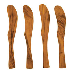 "Bambeco Olive Wood Set of Four Spreaders - Bring the beauty of natural olive wood to your table with our Olive Wood Set of 4 Spreaders. Crafted from sustainably harvested olive wood, they are ideally suited for cheese, jams or spreads. The spreaders will naturally age with use, making the grains and colors darker, richer and even more beautiful. The wood for our spreaders is taken from olive trees that have reached the end of their fruiting life. As the trees are harvested for wood, another fruiting tree is planted in its place. Dimensions: 7.25"" Care: Hand wash in mild soap and water"