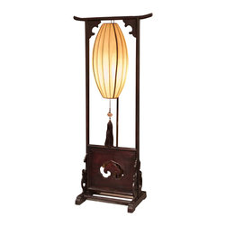 China Furniture and Arts - Hand Carved Wooden Panel Palace Lantern - Once only seen in the Forbidden City in Beijing China, the palace lantern makes a great accent piece that will add style and sophistication to any dwelling. Displayed on a hand carved wooden frame with a Ru-Yi design, which symbolizes good luck, the soft yellow silk lantern shade emits a subtle yet ominous glow when lit. Hand-applied dark cherry finish frame. Fully assembled.