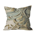 DENY Designs - Happee Monkee Versailles Bluelace Throw Pillow, 20x20x6 - Add a little soft, squeezable antiquity to your sofa, bed or bench. A close-up detail of curvy, aged plaster is printed on woven polyester on the front and back of this pillow, which includes a zipper closure and insert. You can go for Baroque without going broke.