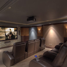 Contemporary Home Theater by CF + D Theatre Design