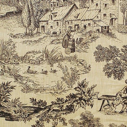 French farm toile fabric tan black toile dog fiddle Vervain - A French farm toile fabric with a dog and fiddler! This Vervain fabric is not marked on the side.