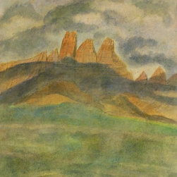 Jutting Promontories, 1956, Painting - Original watercolor painting of jagged cliffs surrounded by stormy skies by German artist H. Piaskowski, 1956. Signed and dated lower right.