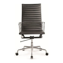 Fine Mod Imports - Fine Mod Imports Togo High Back Leather Office Chair in Black Leather - The Togo Leather Office Chair offers unique design and comfort all in one package in making it a must-have for your contemporary office. Togo Leather Office Chair looks great in the modern office or home based workstation. This contemporary chair is perfect for any office environment.