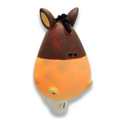 Children`s Whimsical Horse Night Light Nite Lite - This whimsical horse head night light adds an adorable accent to your child`s room, while providing just enough light to ease his mind in the dark nighttime hours. Made of cold cast resin, it measures 5 inches tall, 3 3/4 inches wide, and 2 1/2 inches deep. It has a 360 degree swivel plug to accommodate any outlet, and it uses a 7 watt (max) type C night light style bulb (included). The light has an on/off switch on the front, and is recommended for children ages 6 and up.