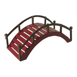 Miniature Fairy Garden Red Bridge - This mini red bridge will help fairies and woodland creatures cross water features safely or use in a zen inspired garden.  Features all-weather paint and a unique distressed finish.