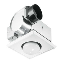 NuTone - Bathroom 70 CFM Exhaust Fan with Heat Lamp - UN 9417-DN - This exhaust fan offers instant warmth without the use of the home's central thermostat. It is a nice treat for cold mornings in the bathroom. Both heat and ventilation are offered in a small, quiet package. The fan and heater can be operated together or separately for maximum convenience. The socket can adjust to accommodate ceilings up to one inch thick and there is an automatic reset button for thermal protection. Takes (1) 250-watt incandescent R40 bulb(s). Bulb(s) sold separately.