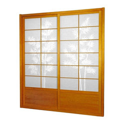 Oriental Furniture - 7 ft. Tall Bamboo Tree Shoji Sliding Door Kit - This fantastic Bamboo Tree Shoji Sliding Door Kit comes with two sliding doors, top and bottom tracks, and right and left door jambs. The bamboo tree print is a striking match to the rich wood finish.