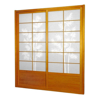 Oriental Furniture - 7 ft. Tall Bamboo Tree Shoji Sliding Door Kit - Honey - This fantastic Bamboo Tree Shoji Sliding Door Kit comes with two sliding doors, top and bottom tracks, and right and left door jambs. The bamboo tree print is a striking match to the rich wood finish.