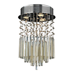 """Worldwide Lighting - Torrent 3 Light Chrome Finish & Golden Teak Crystal 12"""" Round Flush Ceiling Ligh - This stunning 3-light ceiling light only uses the best quality material and workmanship ensuring a beautiful heirloom quality piece. Featuring a radiant chrome finish and finely cut premium grade translucent golden teak (champagne color) crystals with a lead content of 30%, this elegant ceiling light will give any room sparkle and glamour. Worldwide Lighting Corporation is a privately owned manufacturer of high quality crystal chandeliers, pendants, surface mounts, sconces and custom decorative lighting products for the residential, hospitality and commercial building markets. Our high quality crystals meet all standards of perfection, possessing lead oxide of 30% that is above industry standards and can be seen in prestigious homes, hotels, restaurants, casinos, and churches across the country. Our mission is to enhance your lighting needs with exceptional quality fixtures at a reasonable price."""