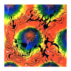 Zeckos - Tie Dye Flaming Skull Wall Hanging 43 Inch x 40 Inch Dorm Decor - This 100% cotton, 43 inch by 40 inch, brightly colored tie-dye wall hanging features a design of a flaming skull. Made in China using traditional methods, the wall hanging is great for the walls of bedrooms, bathrooms, dorm rooms, virtually any room that needs a little dressing up. It makes a great gift for any skull fan.