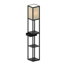 Adesso Lighting - Adesso 62.75-Inch Shelf Floor Lamp with Drawer - This shelf floor lamp has a black frame with a PVC veneer and features a square natural fabric shade. The lamp includes shelves to provide a total of three storage or display areas. Also includes a drawer for addtional storage.