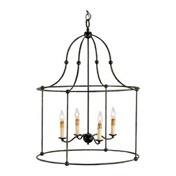 Kathy Kuo Home - French Country Black Iron Frame 4 Light Lantern Pendant Lamp - A bell shaped black wrought iron frame creates a unique interpretation of an old French Country lighting classic by highlighting the space within it, and the shadows that it casts.