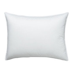 Feather-Down Standard Pillow - The core support of feather is wrapped in the fluffy luxury of domestic down for a superior-quality pillow with nothing but pure white fill. The preshrunk cambric cotton shell is closely woven to keep the fill inside. Down alternative bed pillows also available.