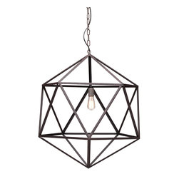 Zuo - Amethyst Large Metal Angular Chandelier - The Amethyst Large Metal Angular Chandelier is the perfect combination of art and soul.  The rust-colored metal chandelier has a triangular pattern that makes it visually appealing while the sturdy steel in an industrial finish lends itself to a different era.  Hang this transitional metal chandelier in your foyer, dining area or living room.  The airy design of this chandelier will keep the space open and informal.  For a smaller space, take a look at the Amethyst Small Metal Angular Chandelier.