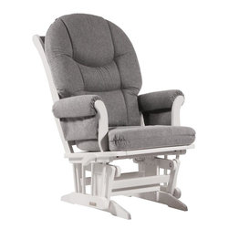 Dutailier - Sleigh glider-multiposition and recline - dark gray - Dutailier's exclusive gliding system with top quality sealed ball bearings. Multiposition mechanism allows to stop the glider at the desired position. Great reclining mechanism allows backrest to be fully adjustable. Hardwood frame in white finish. Removable foam cushions and padded arms. Glider: 27 in. x 31 x 42.5 in.Ideal for nursing or simply relaxing, this Sleigh glider offers an exceptionally smooth and extra long glide motion with thick cushions and padded arms that will add class and elegance to your decor. The multiposition mechanism locks the glider in 6 different positions and makes it easier to sit in or step out of the glider. In addition, it features a reclining mechanism to maximize your comfort. There are no sharp edges, the finish is toxic free and this product meets all safety standards.