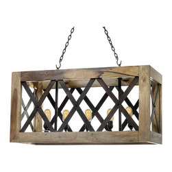 Go Home - Go Home Carlton Light - Illuminate your home with this exceptionally designed Carlton Light that is supplied with an adjustable chain facility to ease your efforts. It is constructed with wood combined with iron accents and exhibits a rustic finish to provide it an antique look.