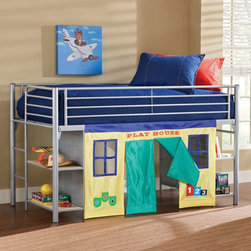 Hillsdale Furniture - Universal Junior Loft with Tent - HL2756 - Shop for Bunk Beds from Hayneedle.com! With its kid-friendly height built-in storage and fun playhouse space the Universal Junior Loft with Tent gets a big thumbs up from us. And we know how it often is with kids - lots of stuff but not much space. This junior loft bed provides elevated sleeping space with plenty of storage and play space underneath. The welded tubular steel frame is finished in a sleek silver color that can match any color scheme. Four built-in bookshelves with metal mesh back panels offer handy storage for games shoes toys and more. The removable blue yellow and teal fabric curtain encourages creative play while also providing a place to stash toys out of sight. If your child likes to draw write or do art projects then you might want to add the optional desk and round stool. The removable desk hooks onto the end of the loft bed expanding the length of the bed from 80L to 94.25L inches overall. The tops of the shelves desk and stool are made of engineered wood and finished in a light-colored wood vinyl laminate which complements the sporty style of the metal frame. We take your family's safety seriously. That's why all of our bunk beds come with a bunkie board slat pack or metal mesh support system. These provide complete mattress support and secure the mattress within the bunk bed frame. Please note: Bunk beds and loft beds are only to be used by children 6 years of age or older. About Hillsdale FurnitureLocated in Louisville Ky. Hillsdale Furniture is a leader in top-quality affordable bedroom furniture. Since 1994 Hillsdale has combined the talents of nationally recognized designers and globally accredited factories to bring you furniture styling and design from around the globe. Hillsdale combines the best in finishes materials and designs to bring both beauty and value with every piece. The combination of top-quality metal wood stone and leather has given Hillsdale the reputation