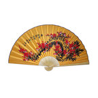 "Oriental-Décor - Lucky Blossoms - This fabulous large Chinese wall fan features a stunning bouquet of red blossom flowers set against a yellow background. Yellow is an important color in Chinese lore. It is often used to represent the Buddha and known for being an imperial color. Red is a popular color in China and stands for prosperity and good luck. Hang this fabulous Chinese wall fan in any room for fine Oriental home decor.  Available in 60"" size only."
