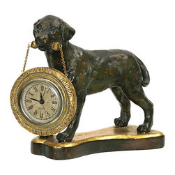 Sterling Industries - Sterling Labrador Retriever Desk Display Clock - Dogs have long been considered to be lifelong companions to humans and man's best friend. For the dog lover in your life, why not gift them this handsome Labrador retriever display clock by Sterling. The precious timepiece will be a wonderful compliment to any room decor displayed on a book shelf in the home office, library, den, or family room. Painted in a finish that replicates a bronze statue, the Labrador carries a golden bone in its mouth where the clock hangs from a connected chain. The Labrador stands attentively on a base in the shape of a bone.