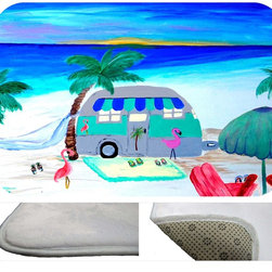 "usa - Air Stream On The Beach Bath Mat,  30"" X 20"" - Bath mats from my original art and designs. Super soft plush fabric with a non skid backing. Eco friendly water base dyes that will not fade or alter the texture of the fabric. Washable 100 % polyester and mold resistant. Great for the bath room or anywhere in the home. At 1/2 inch thick our mats are softer and more plush than the typical comfort mats. Your toes will love you."