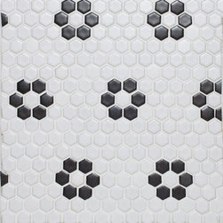 Glazed Porcelain Hexagon Tile Sheet, White With Black Rose-Pattern Mosaic - Sold by the sheet - Each sheet .84 Square Feet