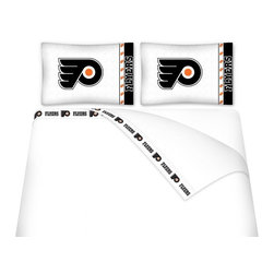 Sports Coverage - Sports Coverage NHL Philadelphia Flyers Microfiber Hem Sheet Set - Twin - NHL Philadelphia Flyers Microfiber Hem Sheet Set have an ultrafine peach weave that is softer and more comfortable than cotton. Its brushed silk-like embrace provides good insulation and warmth, yet is breathable.   The 100% polyester microfiber is wrinkle-resistant, washes beautifully, and dries quickly with never any shrinkage. The pillowcase has a white on white print beneath the officially licensed team name and logo printed in vibrant team colors, complimenting the new printed hems.    Features: -  Weight of fabric - 92GSM ,  - Soothing texture and 11 pocket,  -  100% Polyester,  - Machine wash in cold water with light colors,  - Use gentle cycle and no bleach ,  - Tumble-dry,  - Do not iron ,