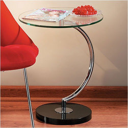"LumiSource - Occasional Furniture End Table - Supported by a chrome ''C'' shaped stem, this modern glass table sits pretty on a black polished base. The ''C'' Table is as unique as it is sophisticated, adding cosmopolitan ambiance to any space. Features: -Sleek glass table top.-Chrome base.-Polished black base.-Occasional Furniture collection.-Collection: Occasional Furniture.-Distressed: No.-Top Finish: Clear.-Base Finish: Black.-Powder Coated Finish: No.-Gloss Finish: No.-Base Material: Metal.-Top Material: Glass.-Solid Wood Construction: No.-Hardware Material: Metal.-Nesting Tables: No.-Non-Toxic: Yes.-UV Resistant: No.-Scratch Resistant: No.-Weather Resistant or Weatherproof: No.-Water Resistant or Waterproof: No.-Stain Resistant: No.-Lift Top: No.-Storage Under Table Top: No.-Drop Leaf Top: No.-Magazine Rack: No.-Built In Clock: No.-Drawers Included: No.-Hardware Finish: Chromed metal.-Exterior Shelves: No.-Cabinets Included: No.-Glass Component: Yes -Tempered Glass: Yes.-Beveled Glass: No.-Frosted Glass: No..-Legs Included: No.-Casters: No.-Lighted: No.-Stackable: No.-Reclaimed Wood: No.-Adjustable Height: No.-Outdoor Use: No.-Weight Capacity: 40 lbs.-Swatch Available: No.-Commercial Use: No.-Recycled Content: No.-Eco-Friendly: No.-Product Care: Wipe with dry cloth for base, glass cleaner for table top.-Built In Outlets: No.-Powered: No.Specifications: -FSC Certified: No.-EPP Compliant: No.-CARB Compliant: No.-ISTA 3A Certified: No.-ISTA 1A Certified: Yes.-General Conformity Certificate: No.-Green Guard Certified: No.-ISO 9000 Certified: No.-ISO 14000 Certified: No.-UL Listed: No.Dimensions: -Overall Product Weight: 23 lbs.-Overall Height - Top to Bottom: 22"".-Overall Width - Side to Side: 17.75"".-Overall Depth - Front to Back: 17.75"".-Width When Fully Extended: 17.75"".-Table Top Thickness: 0.5"".-Table Top Width - Side to Side: 17.75"".-Table Top Depth - Front to Back: 17.75"".Assembly: -Assembly Required: Yes.-Tools Needed: No.-Additional Parts Required : No.Warranty: -Product Warranty: 90 day limited warranty."