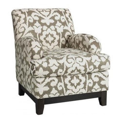 Kenter Club Chair - A pair of these would accent a tufted sofa nicely without overpowering it. The neutral pattern creates a nice backdrop for a pop of color.