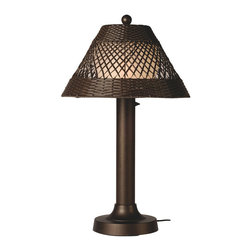 Patio Living Concepts - Patio Living Concepts Java 34 Inch Table Lamp w/ 3 Inch Bronze Tube Body & Diamo - 34 Inch Table Lamp w/ 3 Inch Bronze Tube Body & Diamond Center Pattern Weave Walnut Wicker Shade belongs to Java Collection by Patio Living Concepts All-weather handwoven center diamond pattern PVC wicker shade highlights the opal polycarbonate light globe in this elegant outdoor lamp. Features weatherproof all resin construction with heavy weighted base, two level dimming switch and 16 ft. weatherproof cord and plug. Waterproof light bulb enclosure allows the use of a standard 100 watt light bulb. Model #15257 Lamp (1)