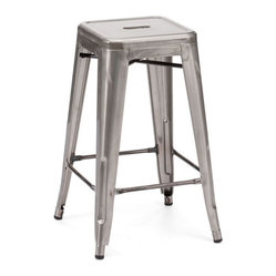Zuo Modern - Marius Counter Stool, Gunmetal - This stool is made of a solid steel frame in a rustic antiquate black with gold accents finish.