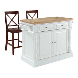 Crosley Furniture - Butcher Block Top Kitchen Island with Black X - Includes two stools. Fully functional doors and drawers on both sides. Butcher block top. Two towel bars. Brushed nickel hardware. Carved column accents. Two adjustable shelves behind doors. Warranty: 90 days. Made from solid hardwood and wood veneers. White finish. Made in Vietnam. Stool height: 24 in.. Overall: 48.25 in. W x 23 in. D x 36 in. H (168 lbs.). Assembly instructions - Kitchen Island. Assembly instructions - StoolThis kitchen island is designed for longevity. The handsome raised panel doors and drawer fronts provide the ultimate in style to dress up any culinary space. Great for food preparation. Deep push-through drawers are great for holding essential items, such as utensils or storage containers. Style, function, and quality make this kitchen island a wise addition to your home.