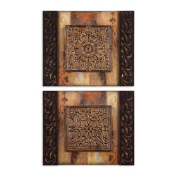 Uttermost - Uttermost Ornamentational Block I, II (Set of 2) - Uttermost Floral Bunda is a part of Grace Feyock Collection by Uttermost This oil reproduction features a hand applied dabb finish. The wood frame has a distressed black finish with a silver leaf inner lip with gray glaze. Art Object (1)