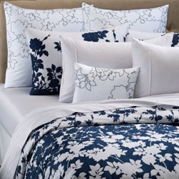 Barbara Barry - Barbara Barry Kimono Duvet Cover - Like bonsai in a Kyoto garden, silhouetted branches rise from the bottom of the Kimono duvet cover, creating an engineered tableau of blossoms, leaves and butterflies. A classic kimono pattern overlays the deep indigo ground for a sparkling effect.