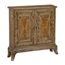 Uttermost - Maguire Distressed Console Cabinet - Keep it all hidden away in this beautiful plantation-grown mango wood distressed console cabinet. Two adjustable shelves and hand-painted in warm oatmeal with artistic distressing, this cabinet will be a warm addition to your bathroom, hallway or living area.