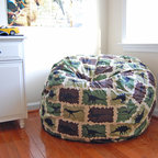 "Bean Bags for Boys - Ahh! Products Dinosaurs cotton bean bag chair in camouflage colorway. Remove and wash cover, water-repel liner. 37"" large size. 10 year warranty, Made in USA."