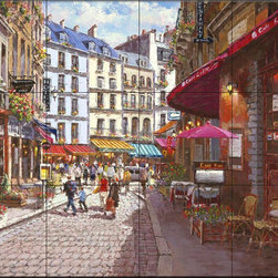 """The Tile Mural Store (USA) - Tile Mural - Paris Cafe - Kitchen Backsplash Ideas, 24"""" X 18"""" (12 Tiles 6"""" X - This beautiful artwork by Sam Park has been digitally reproduced for tiles and depicts a street view of Paris with restaurants lining the brick paved road  This street scene tile mural would be perfect as part of your kitchen backsplash tile project or your tub and shower surround bathroom tile project. Street scenes images on tiles add a unique element to your tiling project and are a great kitchen backsplash idea. Use a street scene tile mural, perhaps a Tuscan theme tile mural, for a wall tile project in any room in your home where you want to add interesting wall tile."""