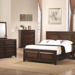 Coaster Jerico Bedroom Collection - Tuck yourself into complete comfort and casual style by adding the Jerico Collection by Coaster Furniture to the decor. The bedroom pieces consist of a gorgeous maple oak finish and features dazzling maple veneer as well as bracket feet. The panel headboard includes a grandly-scaled headboard with decorative paneling while the storage bed comes with a bookcase headboard. In addition, the ample storage options are great for keeping books, DVDs, sweaters, jeans, blankets, pillows, bedsheets and towels. Add a honest and handsome ambiance to your bedroom with the youthful Jerico collection.