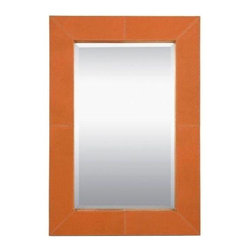 Pre-owned Made Goods Orange Leather Brooke Mirror - Orange Leather?!  Yes, please!    This fun piece by Made Goods was purchased by an interior designer for a client and is brand new - literally still in the box! It was inspired by vintage luggage and the simple, classic style is enhanced with contrast stitching. Perfect blank-wall-solution for any room!