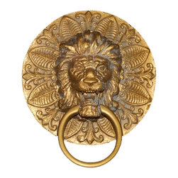 Hickory Manor House - Round Lion Plaque Towel Holder in Antique Gol - Vintage original. Custom made by artisans unfortunately no returns allowed. Enhance your decor with this graceful towel paper holder. Made in the USA. Made of pecan shell resin. 10 in. L x 10 in. W (5 lbs.)