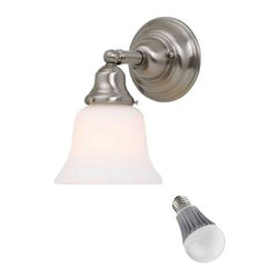 Design Classics Lighting - Single-Light Sconce with Bell Shade and LED Bulb - 671-09/G9110 8W LED - Mission styling with a satin nickel finish make this sconce the perfect choice for any room. Included is an energy savings LED bulb which lasts up to last 6 times longer than compact fluorescent bulbs and 35 times longer than an incandescent. Features a medium base with white diffuser and vented heat sink. Takes (1) 9.5-watt LED A19 bulb(s). Bulb(s) included. Dry location rated.