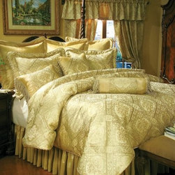Southern Textiles Legacy Comforter Set - It's time you had the royal treatment - bedding treatment, that is. The Southern Textiles Legacy Comforter Set could easily suit a grand Victorian-inspired bed, but it can also dress up a modern bed. That's the beauty of gold fabrics - they rarely lose their luster. Featuring an elaborate floral pattern in shades of gold and yellow, this sophisticated bedding set is made with satin-like 100% polyester and accented with twisted cording and fringe on the pillows. It includes an oversize comforter, bed skirt, shams, Euro inserts, and decorative pillows. Professional dry cleaning is recommended to keep everything flawlessly beautiful. Just chose your size and begin a new legacy of sleep.Bedding Set Components:Queen Elite 11-Piece Super Pack: luxury oversize comforter, 1 bed skirt, 2 pillow shams, 2 Euro shams, 2 Euro pillow inserts, accent pillow, kidney pillowKing Elite 14-Piece Super Pack: luxury oversize comforter, 1 bed skirt, 3 pillow shams, 3 Euro shams, 3 Euro pillow inserts, accent pillow, kidney pillowCalifornia King Elite 14-Piece Super Pack: luxury oversize comforter, 1 bed skirt, 3 pillow shams, 3 Euro shams, 3 Euro pillow inserts, accent pillow, kidney pillowAbout Fashion Bed GroupFashion Bed Group is a Leggett and Platt Company known for its innovative fashion beds, daybeds, futons, bunk beds, bed frames, and bedding support. Created in 1991, Fashion Bed Group is a large consolidation of three leading bed manufacturers. Its beds are manufactured of genuine brass, plated brass, cast zinc, cast aluminum, steel, iron, wood, wicker, and rattan. Fashion Bed Group's products are distributed throughout North America from warehouses located in Chicago, Los Angeles, Houston, Toronto, and Ennis, Texas.