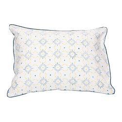 Mia + Finn - Preston Mimosa/Celestial Blue Standard Pillow Shams (set of 2) - This charming pair of pillow shams is made from machine-washable cotton percale, and features a beguiling pattern that's block-printed by hand. The subtle variations that result are a hallmark of this age-old process, and only add to the casual country feel.