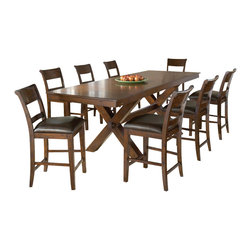 Hillsdale Furniture - Hillsdale Park Avenue 9 Piece Counter Height Table Set in Dark Cherry - Sturdy and stylish the Hillsdale Park Avenue counter height dining set is a fabulous addition to your home.  The ample sized trestle style dining table comfortably seats  6-10, perfect for those with large families or who like to entertain. The non-swivel stools are reminiscent of traditional ladder back style with a hint of transitional design in the wide top slat and easy to care for brown faux leather seat.  Last but not least the distressed dark cherry finish adds warmth to this handsome dining group. Some assembly required.