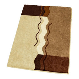 "Non Slip Small Modern Brown Bath Rug (21.7"" x 25.6"") - Unique sculpted bath rug with beautiful brown tones including toffee, light beige, dark mahogany, and light butter cream.  Machine washable .98in high dense pile non-slip / non-skid backing that will not break down.  Soft polyacrylic rug specifically designed for high humidity, high traffic environments.  Designed and produced in Germany"