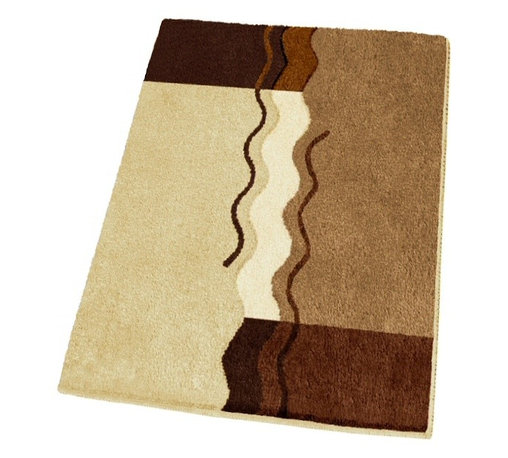 """Non Slip Small Modern Brown Bath Rug (21.7"""" x 25.6"""") - Unique sculpted bath rug with beautiful brown tones including toffee, light beige, dark mahogany, and light butter cream.  Machine washable .98in high dense pile non-slip / non-skid backing that will not break down.  Soft polyacrylic rug specifically designed for high humidity, high traffic environments.  Designed and produced in Germany"""
