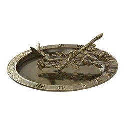 Whitehall Products LLC - Hummingbird Sundial Birdbath - French Bronze - Features:
