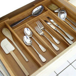 Expandable Bamboo Cutlery Tray - A bamboo tray, such as this, would keep utensils and cutlery tastefully organized.