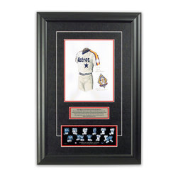 """Heritage Sports Art - Original art of the MLB 1986 Houston Astros uniform - This beautifully framed piece features an original piece of watercolor artwork glass-framed in an attractive two inch wide black resin frame with a double mat. The outer dimensions of the framed piece are approximately 17"""" wide x 24.5"""" high, although the exact size will vary according to the size of the original piece of art. At the core of the framed piece is the actual piece of original artwork as painted by the artist on textured 100% rag, water-marked watercolor paper. In many cases the original artwork has handwritten notes in pencil from the artist. Simply put, this is beautiful, one-of-a-kind artwork. The outer mat is a rich textured black acid-free mat with a decorative inset white v-groove, while the inner mat is a complimentary colored acid-free mat reflecting one of the team's primary colors. The image of this framed piece shows the mat color that we use (Red). Beneath the artwork is a silver plate with black text describing the original artwork. The text for this piece will read: This original, one-of-a-kind watercolor painting of the 1986 Houston Astros uniform is the original artwork that was used in the creation of this Houston Astros uniform evolution print and tens of thousands of other Houston Astros products that have been sold across North America. This original piece of art was painted by artist Nola McConnan for Maple Leaf Productions Ltd. Beneath the silver plate is a 3"""" x 9"""" reproduction of a well known, best-selling print that celebrates the history of the team. The print beautifully illustrates the chronological evolution of the team's uniform and shows you how the original art was used in the creation of this print. If you look closely, you will see that the print features the actual artwork being offered for sale. The piece is framed with an extremely high quality framing glass. We have used this glass style for many years with excellent results. We package every """